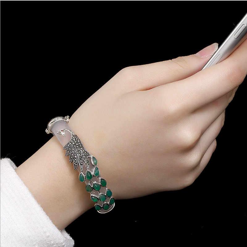 Uglyless แท้ 925 กำไลเงินสำหรับผู้หญิงเงินไทยสัตว์ Chalcedony นกยูงกำไลหยกสร้อยข้อมือเครื่องประดับ