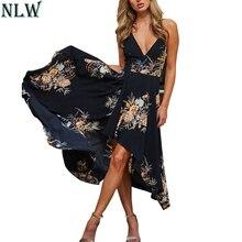 Nlw Sexy цветочные черный нерегулярные летнее платье Макси 2018 спагетти пляж Платья для вечеринок с v-образным вырезом спинки со шнуровкой сзади красный Vestidos