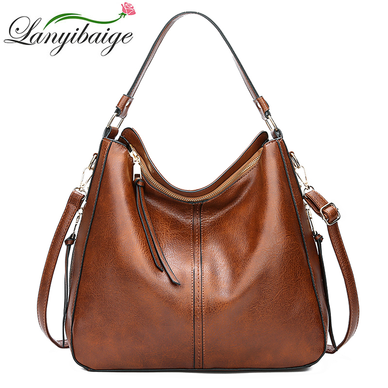 2018 Vintage Brown Women Leather Handbags Luxury Designer Shoulder Bags High Quality Brand Crossbody Bags For Women Bolso Mujer