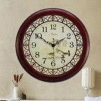 Ретро китайское круглое Подвесные часы из натурального дерева пейзаж живопись настенные часы Mute Zegar винтажные настенные красивые часы 50w121