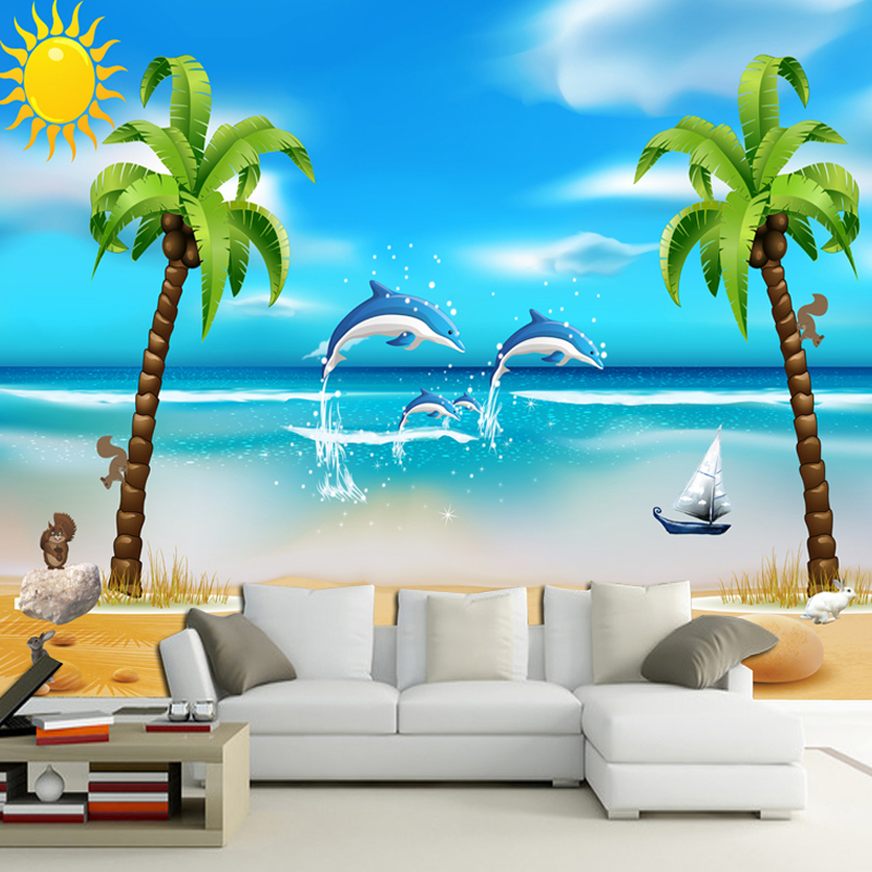 Fresh New Looks For Kids Bedrooms: Mediterranean Style Fresh Coconut Island Background Wall