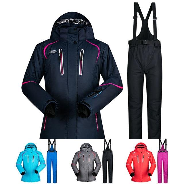 Лыжный костюм, женский зимний комплект одежды для снежной погоды, толстая Водонепроницаемая лыжная куртка и штаны, комплект-30 градусов, лыжные и сноубордические костюмы, бренд