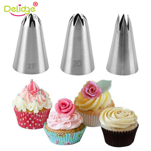 Delidge 3pcs/set Big Size Cream Cake Icing Piping Russian Nozzles Pastry Tips Stainless Steel Fondant Cake Decorating Tools