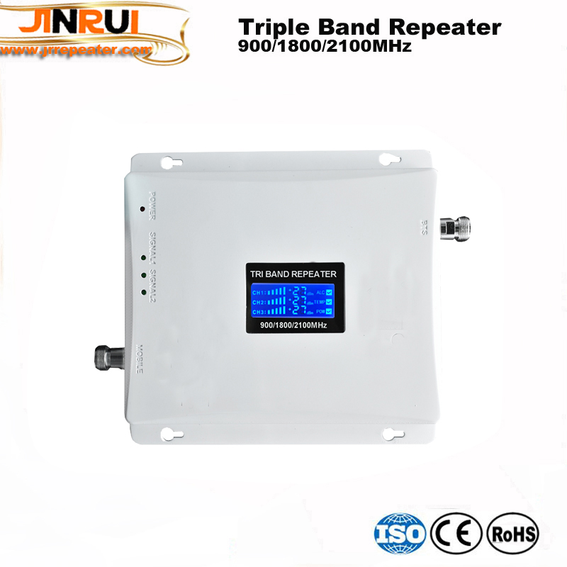 Mobile Booster Triband Signal Amplifier 900 1800 2100 GSM Repeater Tri Band with ALC MGC Cell