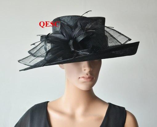 Темно синие вводной широкий платье с полями шляпка для церкви шапки с перо цветы для Ascot рас, свадьба, Кентукки Дерби вечерние. QHS063 - Цвет: Black