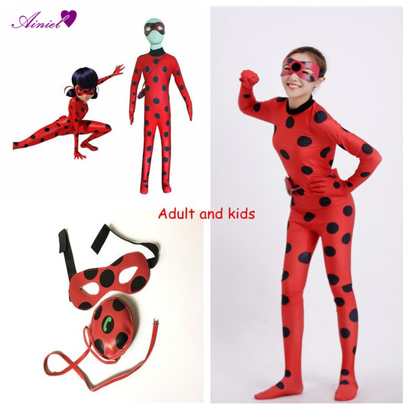 Ainiel   Ladybug Cosplay Costume For Adult Kids Women and girls Bodysuit Halloween Party Lady Bug Marinette  Zentai