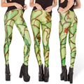 Free size 3306 Fashion Women  green suture blood wound prints elastic bodybuilding sexy Girl Leggings Pants