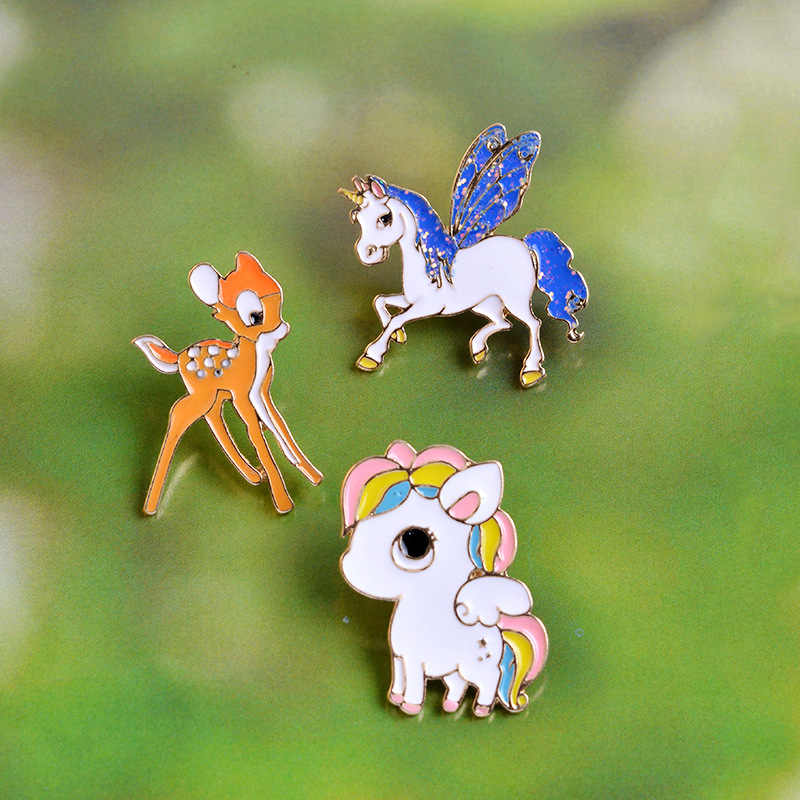 Manxiuni 3 шт./компл. пятнистого оленя красочные лошадь Pegasus Blue Wings лошади летают мультфильм брошь Кнопка Булавки сумка джинсовая куртка Булавки