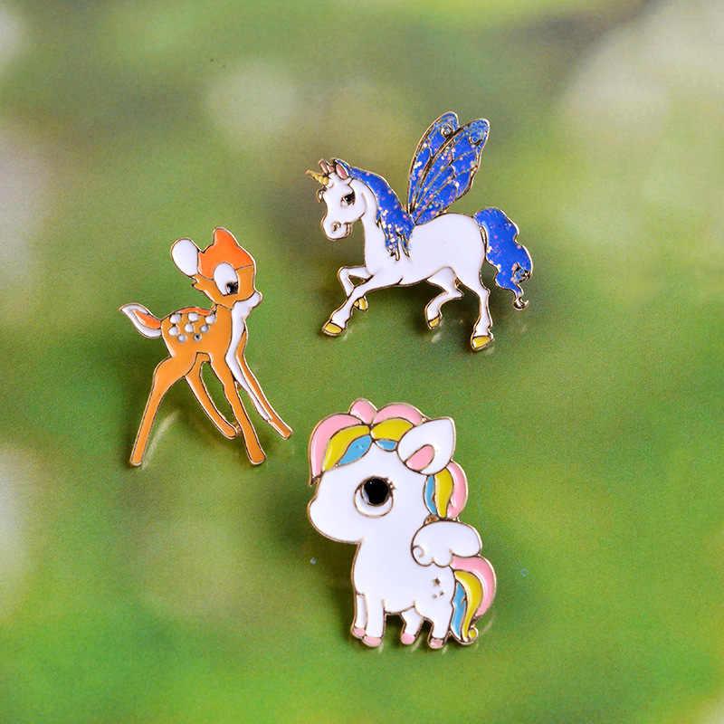 Manxiuni 3 pcs/set Sika Deer Colorful kuda Pegasus Sayap Terbang Kuda Kartun Bros Tombol Pin Tas Denim Biru Jaket Pin