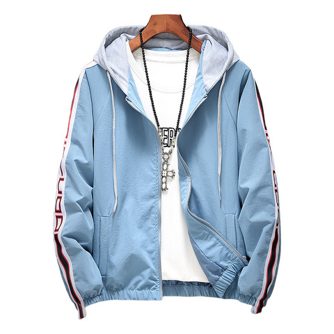 Women Hooded Jackets Coats 2019 Spring Causal Stripe Basic Jackets Windbreaker Women Zipper Lightweight Jackets Bomber Famale Pakistan