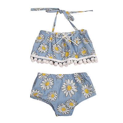 Kids Toddler Baby Girl Clothes Set Halter Floral Crop Tops Shorts Pants Outfits Sunsuit Summer Two Piece Set floral toddler girl clothing 2017 summer kids clothes baby girls off shoulder ruffle crop tops high waist shorts outfits set 3pc