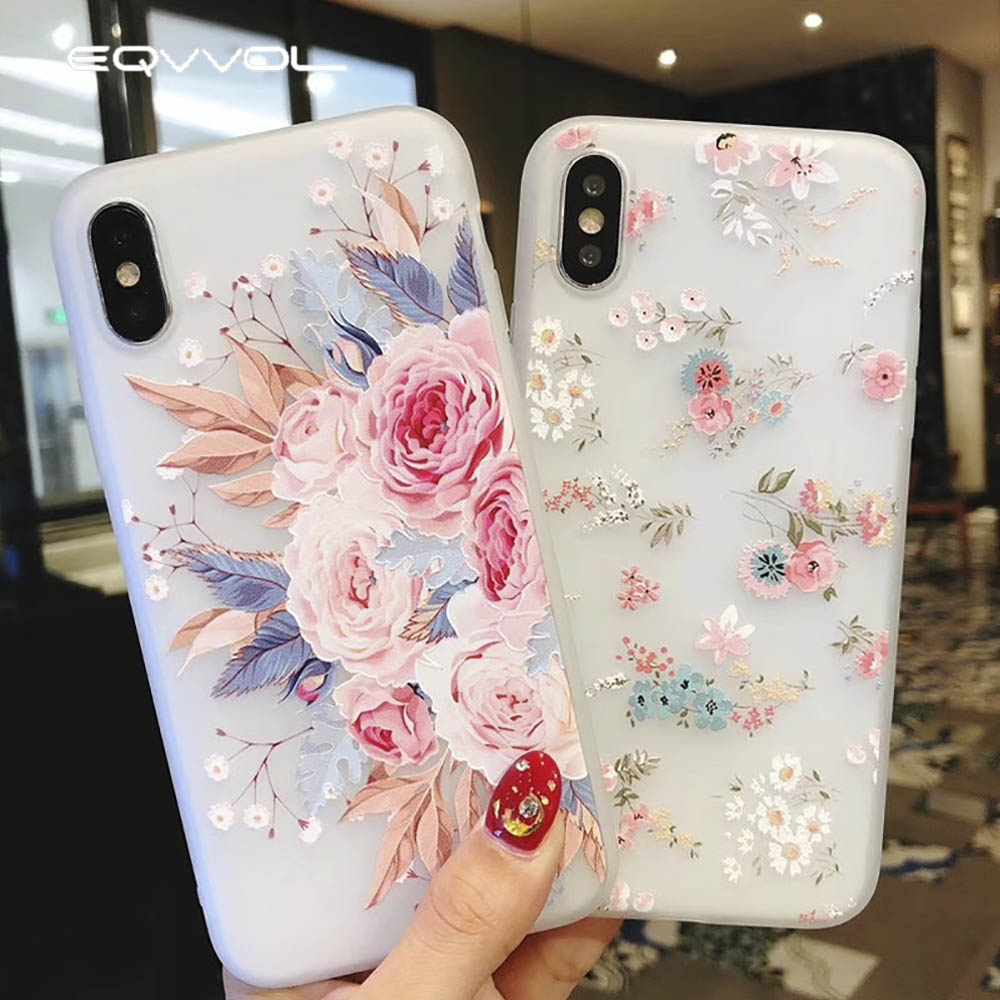 Eqvvol 3d Flower Silicon Phone Case For Apple Iphone X 8 7 6 6s