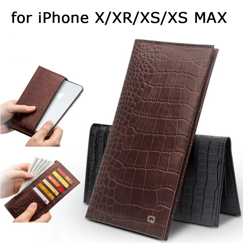 Fashion Crocodile Print Wallet Case for Apple iPhone XS Case Business Flip Cover Genuine Leather Shell