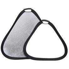 """11,"""" /30 см 2в1 белый/силивер Складная фотография треугольник свет отражатель с сумкой для студии/любой фотографии ситуации"""
