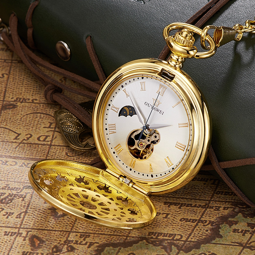 OYW Hand Wind Mechanical Luxury Gold Men Pocket Watch Skeleton Dial Steel Necklace Pendant Vintage Dress Male Chain Fob Watches