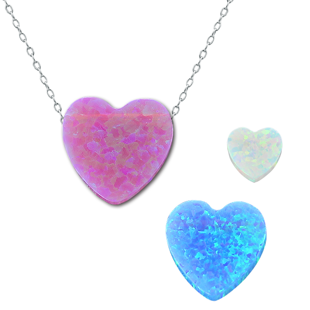 1 Pc Real Opal Necklace Pendant Jewelry Heart Shape Design with 925 Silver Choker Necklace Romantic For Lover's Gift