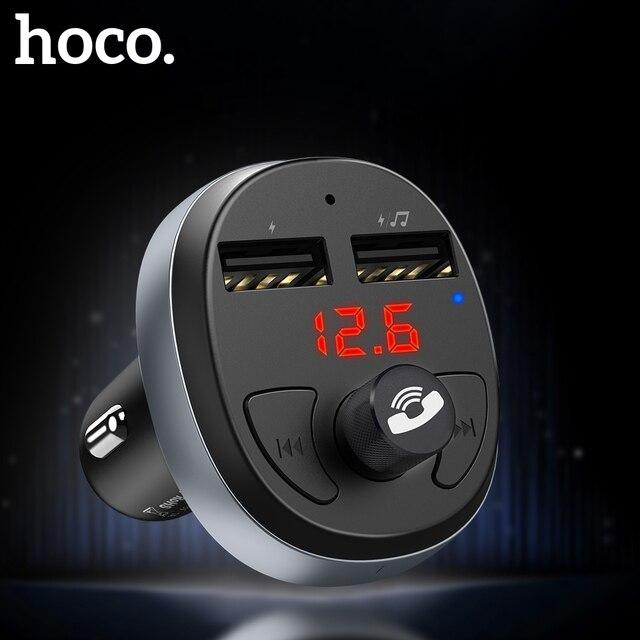 HOCO Dual USB coche cargador LED pantalla FM Transmisor modulador Bluetooth manos libres coche Kit Audio MP3 reproductor de música para iphone