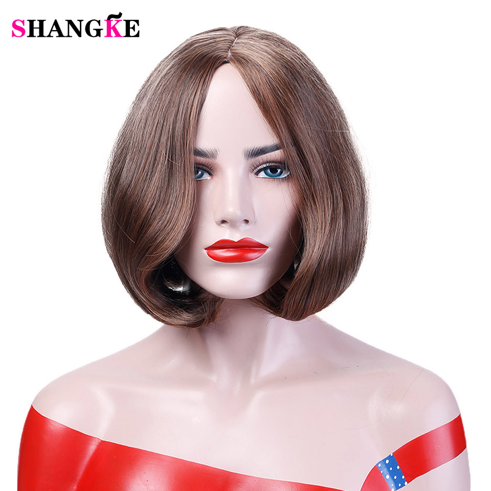 12 Brown Bob Wig Short Synthetic Wigs For African Americans Heat Resistant Straight Hair Costume Cos-play Wigs SHANGKE