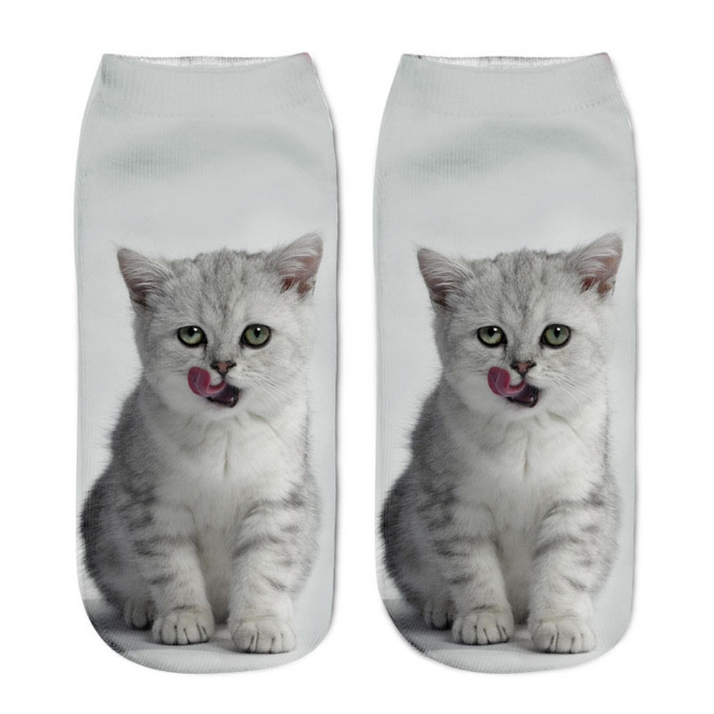 Popular Funny Unisex Short Socks 3D Cat Printed Anklet Socks Casual Socks PH15 Dropshipping