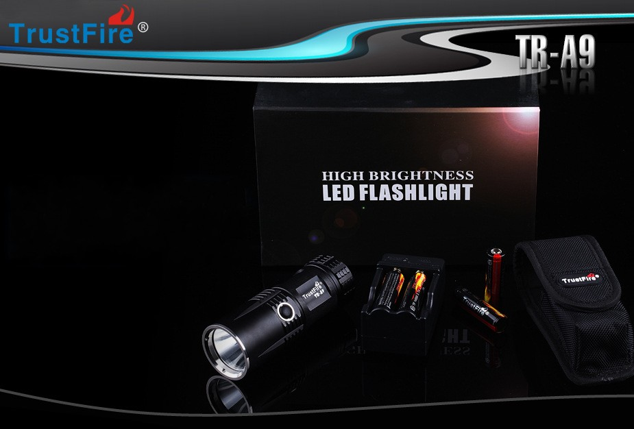 TrustFire A9 CREE XM-L2 Cool White 800lm 5-Mode LED Flashlight+4x14500+1xCharger trustfire a9 2 cree xm l2 cool white light 900lm 5 mode led flashlight 1x26650 1xcharger