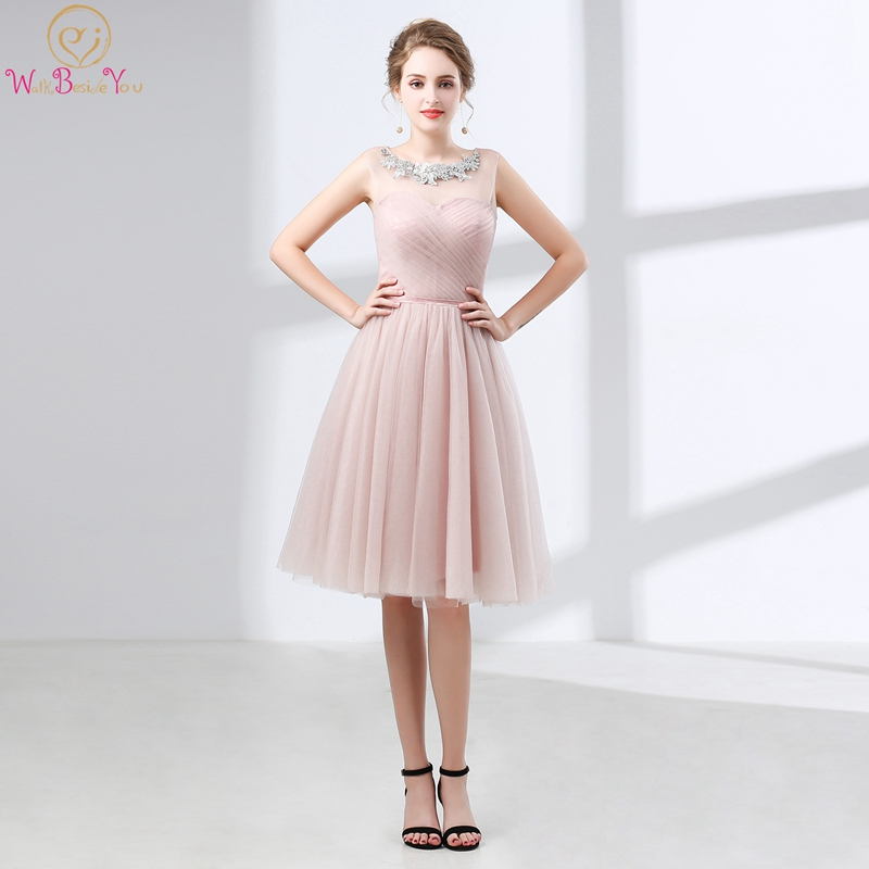 Pink Cocktail Dresses Knee-length Sleeveless Jewel Appliques Neck Pleat 2019 Custom Made Tulle Zipper Back Lively Cocktail Gown