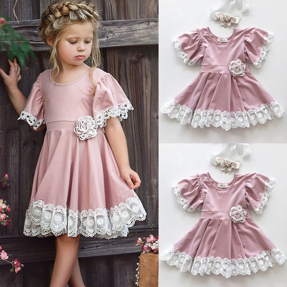 princess anna dress kids baby girls clothes lace floral