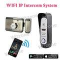 IP65 À Prova D' Água Câmera Wi-fi Campainha + Fechadura Eletrônica Do Sistema de Intercomunicação Sem Fio Suporte 3G/4G IOS Android Remoto destrancar a Porta