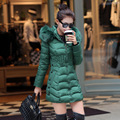 2016 Women Long Winter Down Jacket Slim Long Sleeve Overcoat Fur Hooded Elegant Casual Coat Parka  Plus Size Cotton coat
