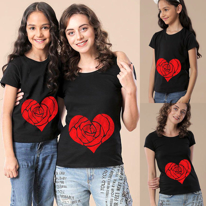 2018 Sommer Mutter Und Mich T-shirt Mutter Und Tochter Baby Kinder Herz Passenden Hemd Familie Kleidung T Top Offensichtlicher Effekt