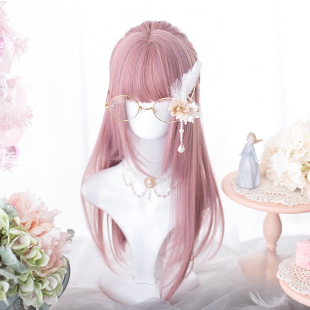Kawaii Pink Lolita Straight with Bangs Wig