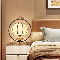 Новый китайский стиль антикварная спальня прикроватные гладить декоративные номер упрощенный китайский Ткань Настольная лампа lo8915
