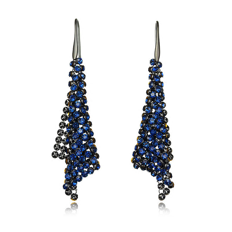 Retro Fashion fine jewelry Multilayer winding big Triangle crystal earrings for women long drop jewelry dangle earrings Brincos