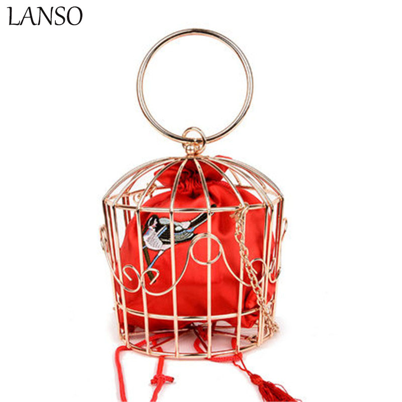 LANSO Personality Creative Funny Messenger Bag Lady Metal Bird Cage Shape Handbags For Women  Fashion Luxury Party Evening Bags