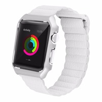 For Apple Watch Band Genuine Leather Loop Magnetic With Stainless Steel Case Bumper Milanese Loop Band