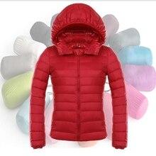 2016 nuevo invierno de las mujeres ultra-delgado con capucha por la chaqueta párrafo corto femenino gran tamaño Delgado delgada de manga larga escudo