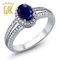 GemStoneKing Clásico Anillo 1.15 Ct de Las Mujeres Oval Natural Blue Sapphire 925 Anillo de Plata Fina Joyería
