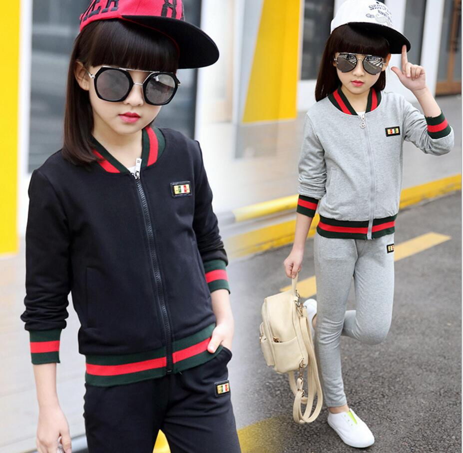 Spring autumn girls clothing set  kids suit set casual two-piece sport suit for girl tracksuit letter children clothing HW2034