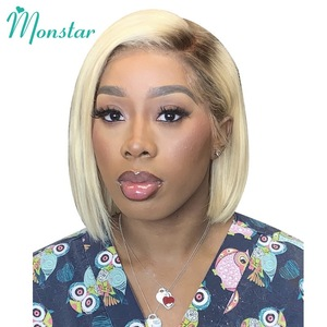 Image 1 - Monstar Blonde Ombre Colored 13*6 Short Bob Lace Front Human Hair Wig For Black Women 8   16 inch European Remy Straight 613 Wig