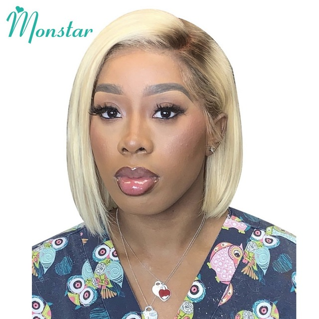 Monstar Blonde Ombre Colored 13*6 Short Bob Lace Front Human Hair Wig For Black Women 8   16 inch European Remy Straight 613 Wig