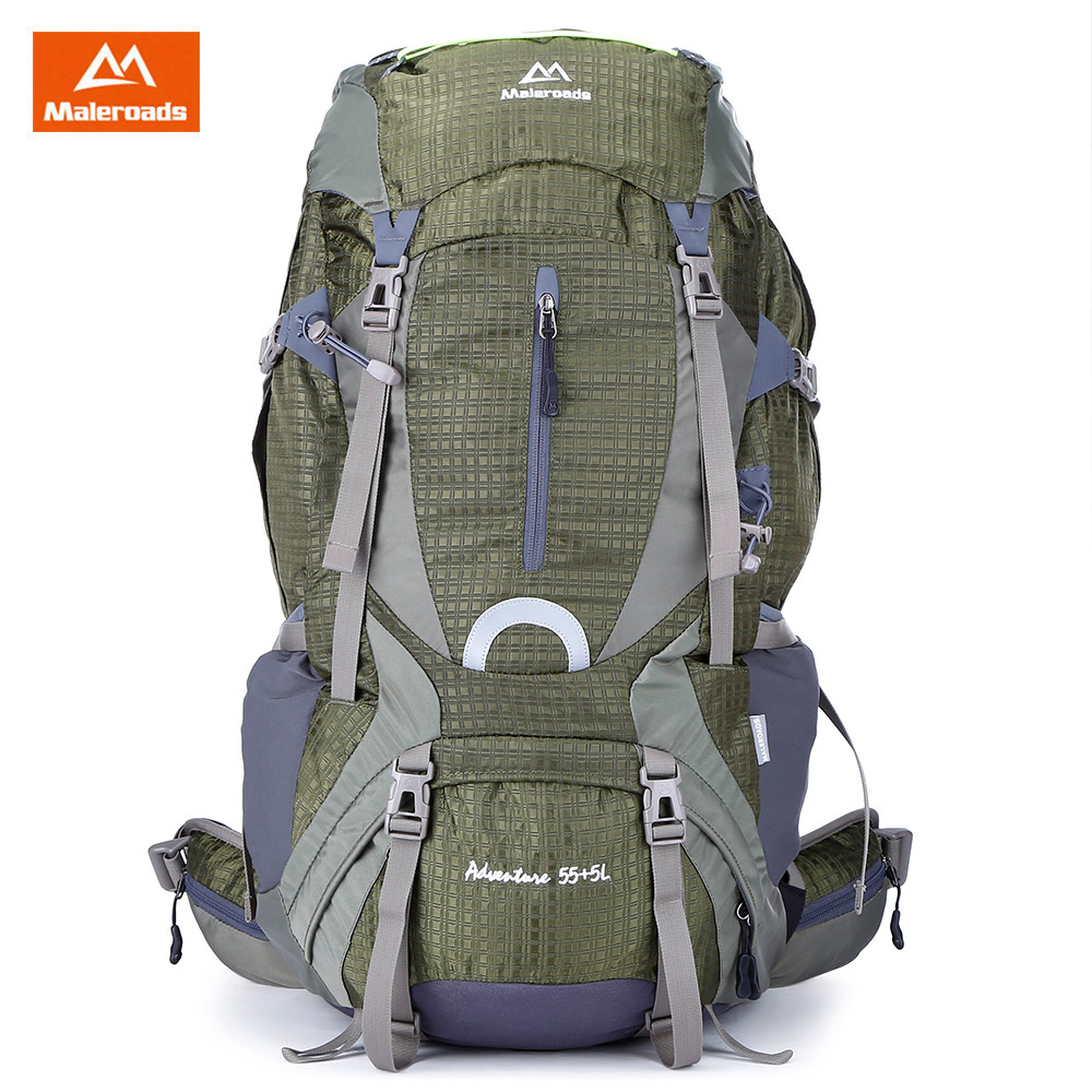 <font><b>Maleroads</b></font> <font><b>60L</b></font> Outdoor Sports Backpack Hiking Camping Nylon Bike Rucksack Bag Water Resistant with Rain Cover image