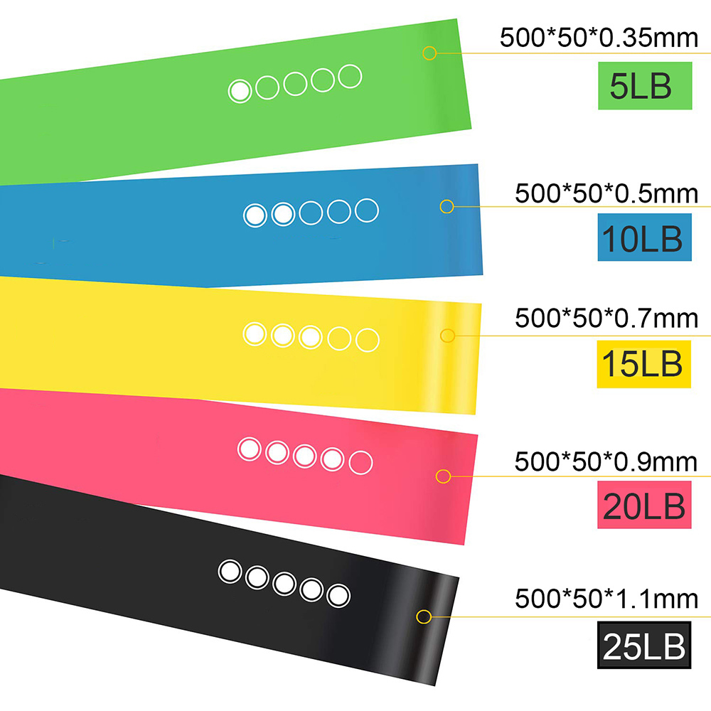 Yoga Resistance Bands 5 Colors Resistance Loop Stretching Pilates Fitness Equipment Gym Home Sport Training Workout (5lb- 25lb) (9)