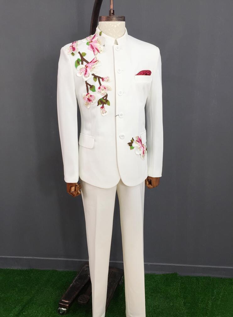 5d229b1d833a Del Uomo Di Abbigliamento Stile Danza Disegni Scena Basamento Jacket Tunica  Punk Costumi Vestito Uomini Cinese ...