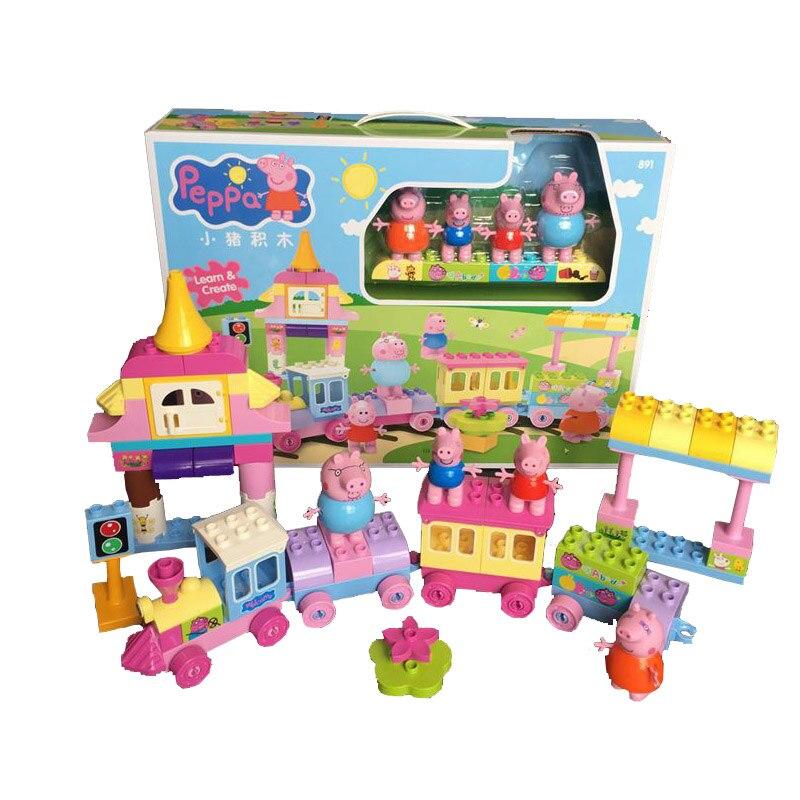 Image 4 - Свинка Пеппа блоки игрушки 2213 73 шт./компл. большой поезд  строительные наборы детские игровые игрушки собранные игрушки для  детейБлочные конструкторы