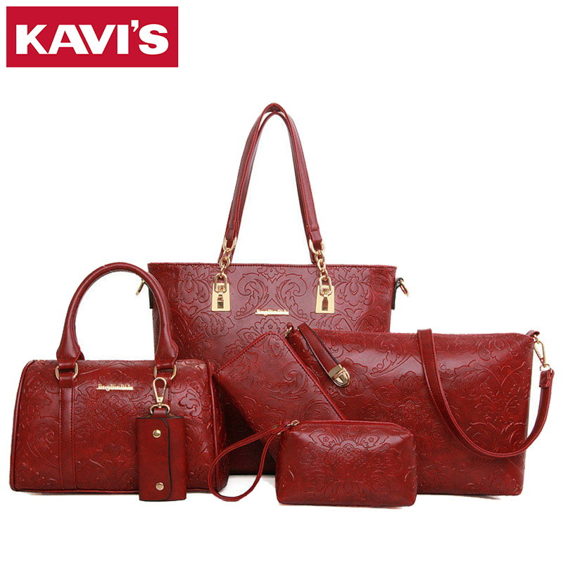 2017 Fashion Designer High Quality PU Leather Women Composite Bag 6 Pieces Set Bags Female Crossbody Shoulder Messenger Handbags 2pcs bag set women messenger shoulder bag solid pu leather casual crossbody quilted bags set women clutch composite handbags red