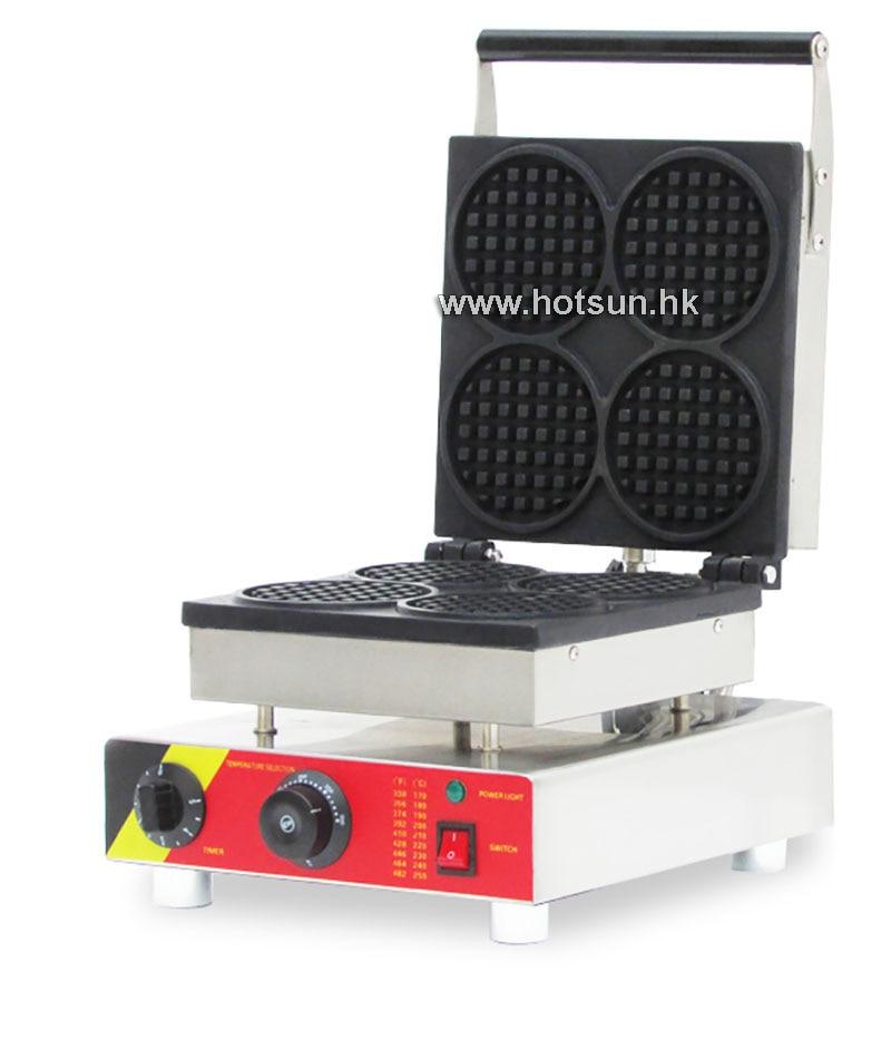 Commercial Non-stick 110V 220V Electric 4pcs Mini Round Waffle Baker Maker Iron Machine