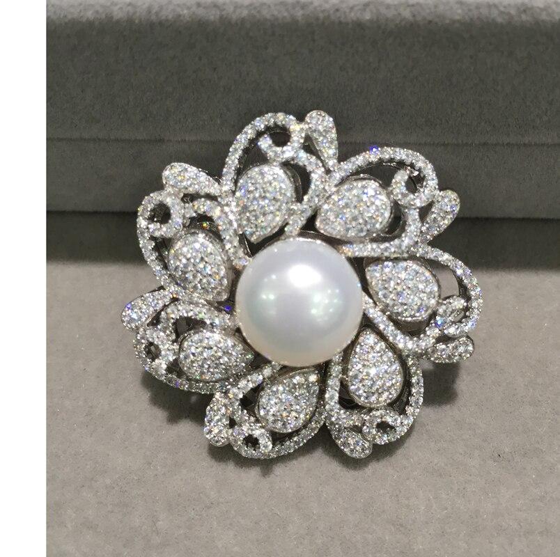 925 argent sterling avec zircon cubique connecteur pour collier bijoux fabrication de fleurs bricolage connecteurs eau douce perle mode