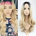 1B#15 Black to blonde Ombre Synthetic Wigs For Black Women ombre body wave Heat Resistant Freetress Hair Synthetic Hair Wig Sale
