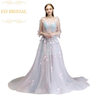 The Ladies Banquet Prom Dress Sweet Romantic Pink Transparent Long Sleeved Appliques Beading Evening Party Gown