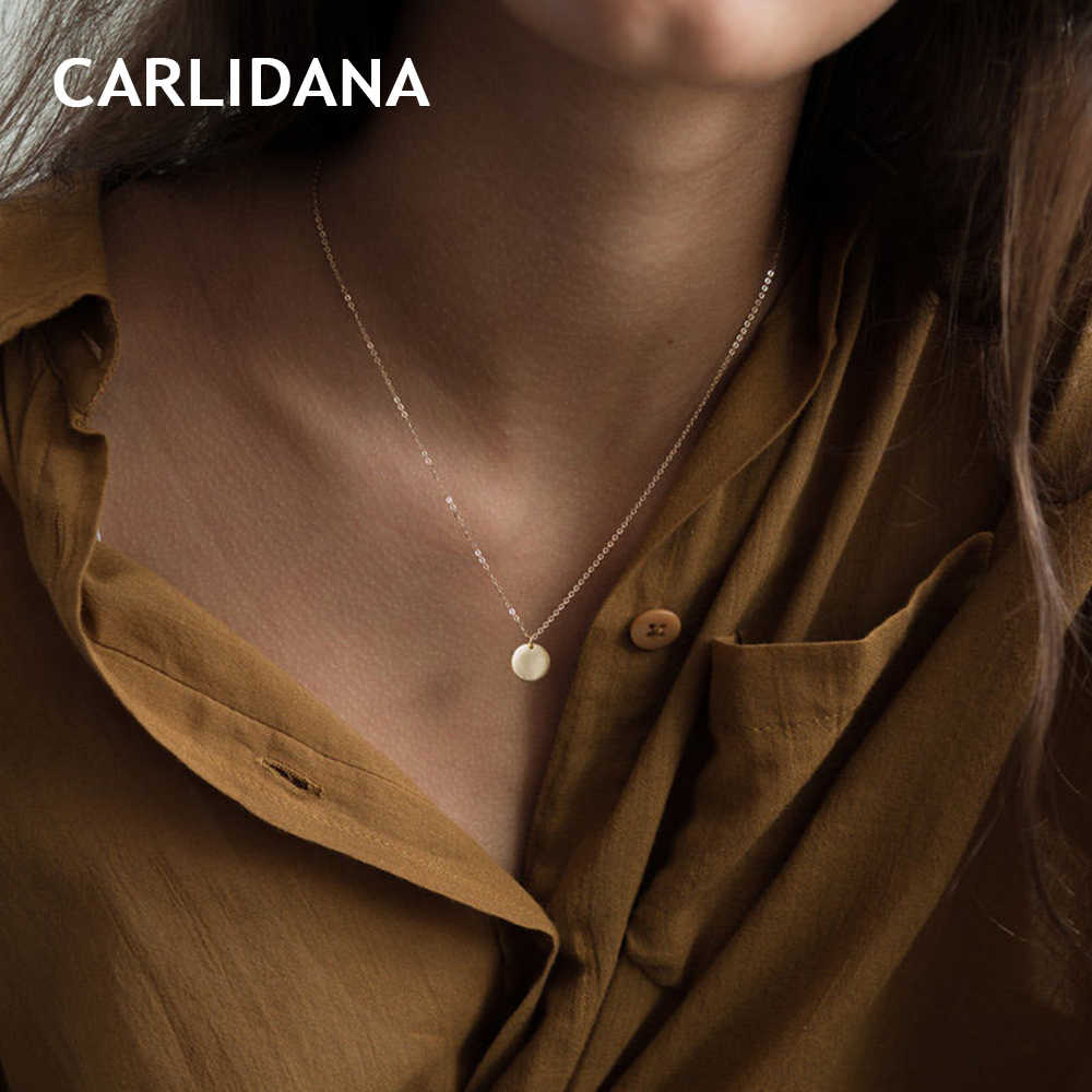 CARLIDANA Simple Stainless Steel Necklace for women round pendant necklace women charm choker necklace fashion jewelry