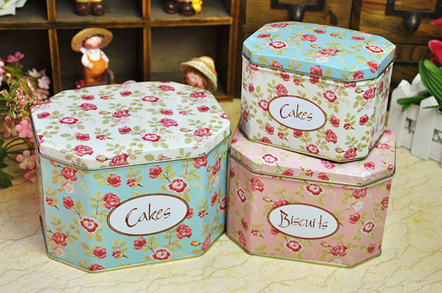 Large size rose flower Octagonal metal box Biscuit Candy Cookie Cake
